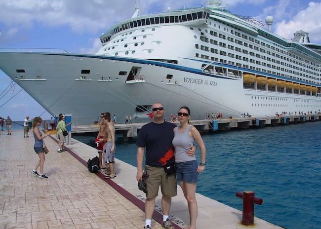 Barry and his wife happy to get off the cruise in the shallow waters of Cozumel.